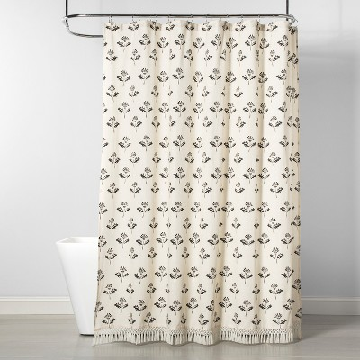 Printed Floral Shower Curtain Neutral - Threshold™