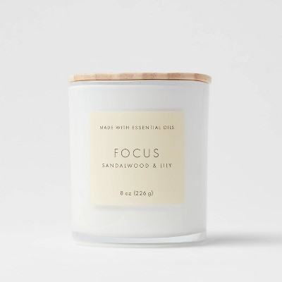 8oz Wood Lidded Glass Wellness Focus Candle - Project 62™