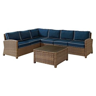 Bradenton 5pc WickerOutdoor Conversation Set - Brown/Navy - Crosley