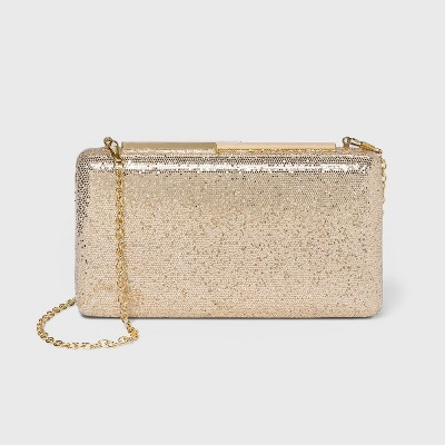 Estee & Lilly Shimmer Kiss Lock Clasp Mini Clutch - Gold