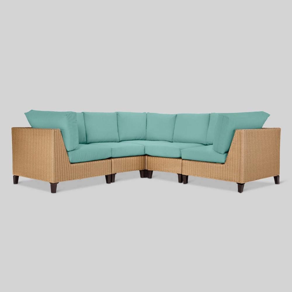 Fullerton 5pc Wicker Patio Sectional - Turquoise - Project 62