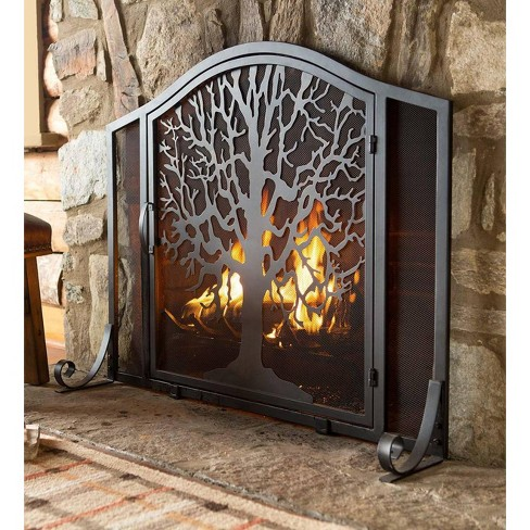 Small Tree Of Life Fireplace Fire Screen With Door Plow Hearth