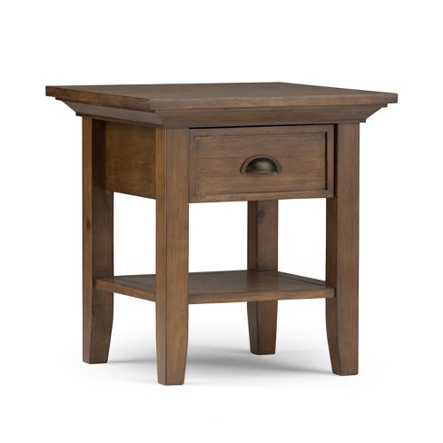Mansfield Solid Wood End Table Rustic Natural Aged Brown - Wyndenhall - image 1 of 9