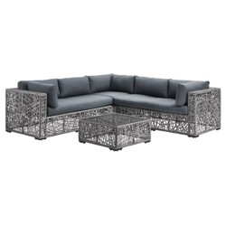 4pc Random Weave Box Sectional with Cushions -Saracina Home