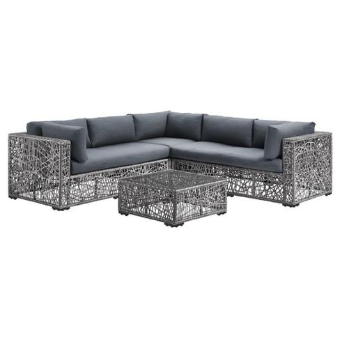 Groovy 4Pc Random Weave Box Sectional With Cushions Saracina Home Beatyapartments Chair Design Images Beatyapartmentscom