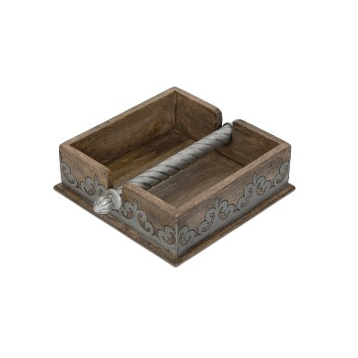 GG Collection Wood and Metal Inlay Heritage Collection 7-Inch Square Napkin Holder