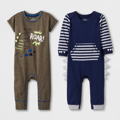 Baby Boys' 2pk Long Sleeve and Short Sleeve Romper - Cat & Jack™ Olive/Navy 12M
