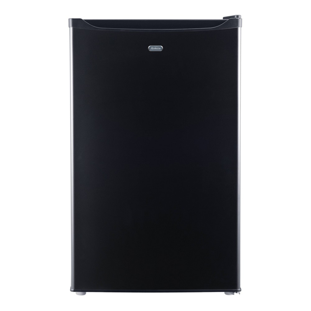 Sunbeam 4.3 cu ft Mini Refrigerator - Black SGR43MBKE Keep your drinks and perishable items cool and fresh with this 4.3 cubic foot Sunbeam mini refrigerator. This unit is perfect for a college dorm, home office or bonus entertainment space. This unit includes manual defrost, a recessed handle, 2 glass shelves and a 8 can dispenser. This unit also includes a one year limited warranty.