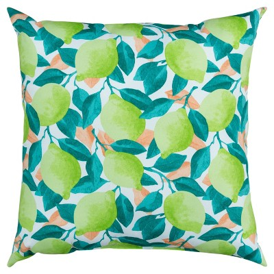"""22""""x22"""" Oversize Poly-Filled Lime Indoor/Outdoor Square Throw Pillow Green - Rizzy Home"""