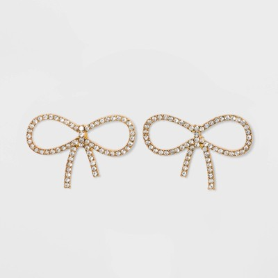 SUGARFIX by BaubleBar Crystal Bow Earrings - Clear/Gold