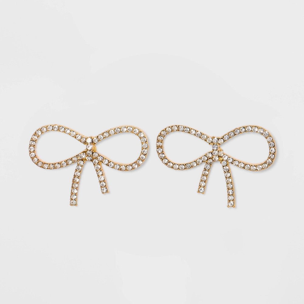 Sugarfix By Baublebar Crystal Bow Earrings Clear Gold