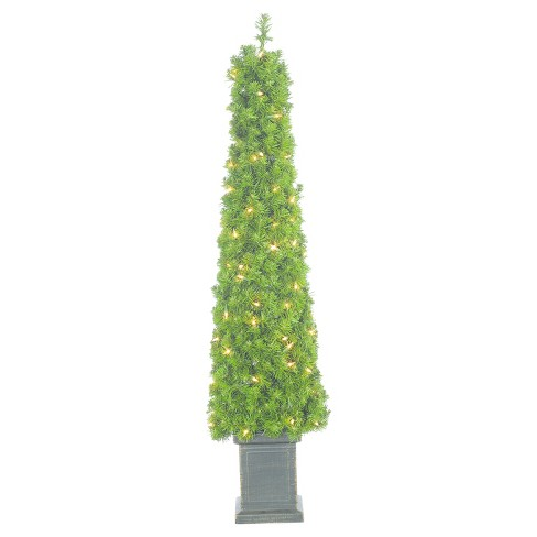 4ft Pre-Lit Artificial Christmas Tree Slim Potted Tower Tree - Clear Lights - image 1 of 1