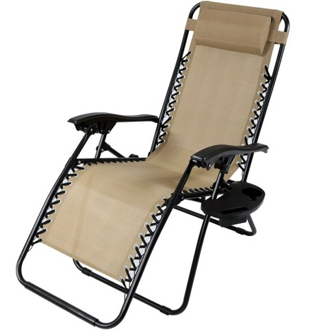 Zero Gravity Lounge Chair With Pillow And Cup Holder Single Khaki Sunnydaze Decor Target