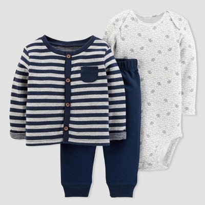 Baby Boys' 3pc Stripe Cardigan Set - Just One You® made by carter's Navy 6M