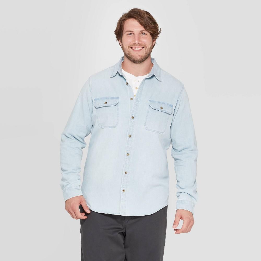 Men 39 S Big 38 Tall Standard Fit Stretch Denim Long Sleeve Button Down Shirt Goodfellow 38 Co 8482 Light Wash 3xbt