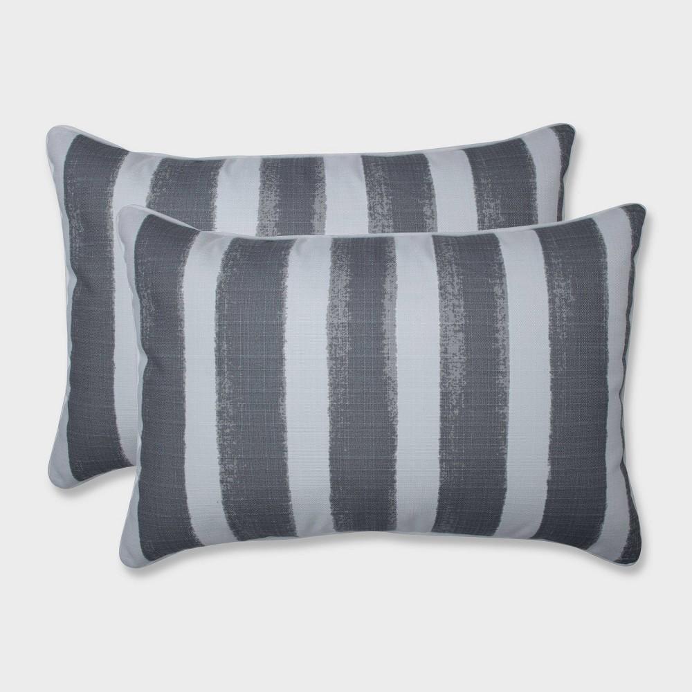 2pk Oversize Nico Sea Salt Rectangular Throw Pillows Gray - Pillow Perfect