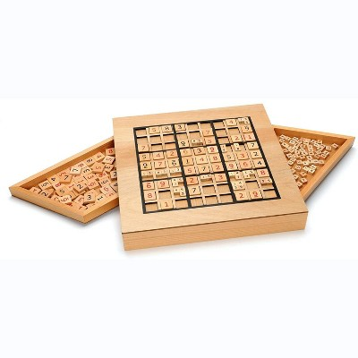 WE Games Wooden Sudoku Puzzle Board Game with Pull Out Drawers - 11 in
