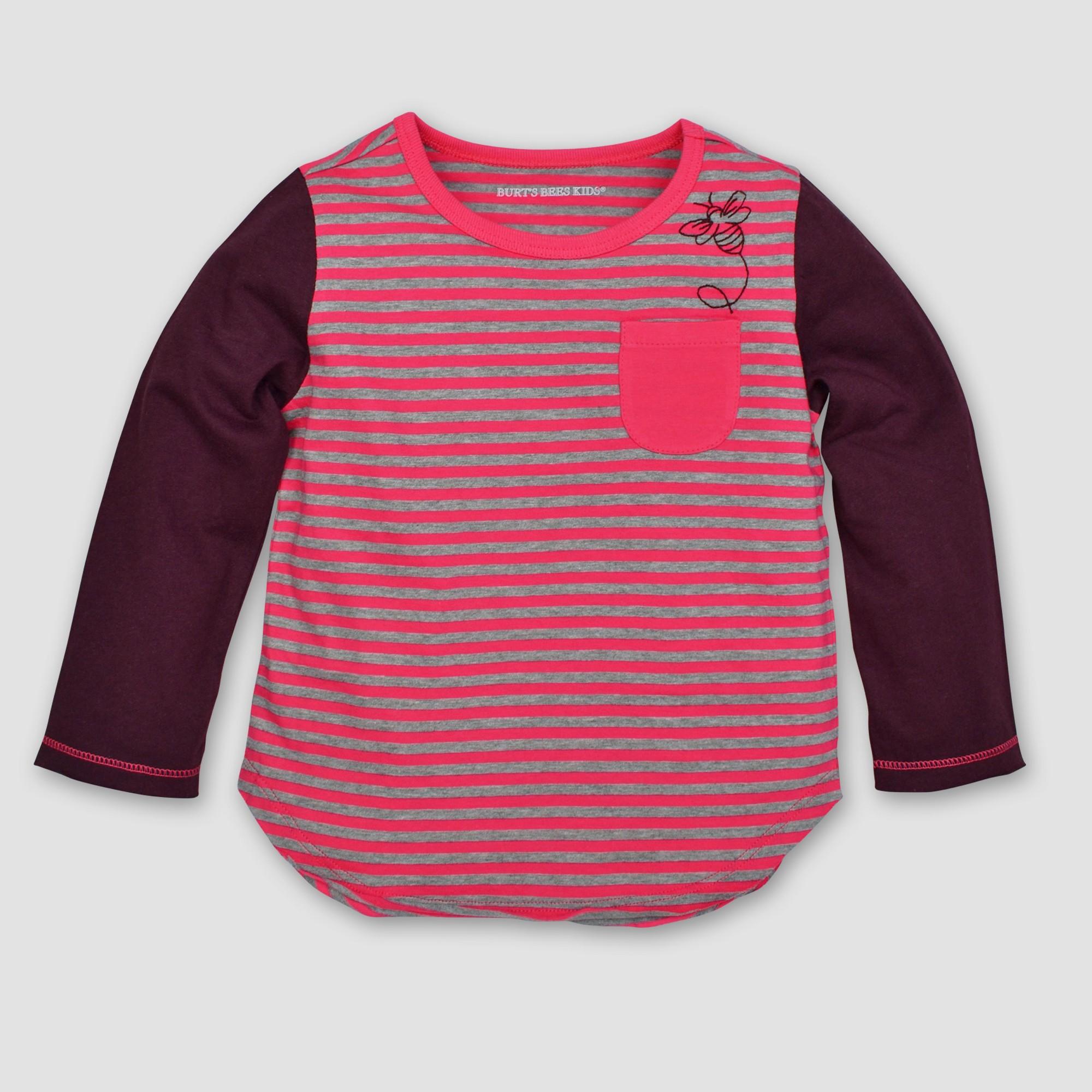 Burt's Bees Baby Toddler Girls' Striped Pocket Long Sleeve T-Shirt - Magenta 4T, Purple