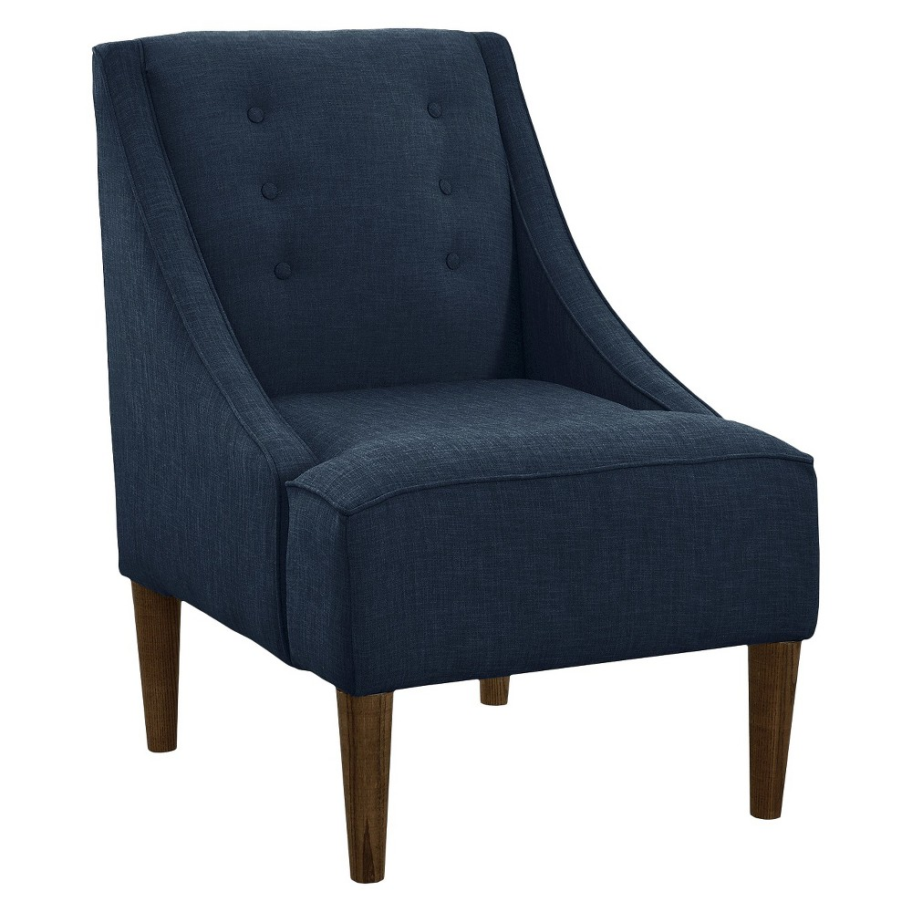 Skyline Custom Upholstered Swoop Arm Chair - Skyline Furniture, Linen Navy