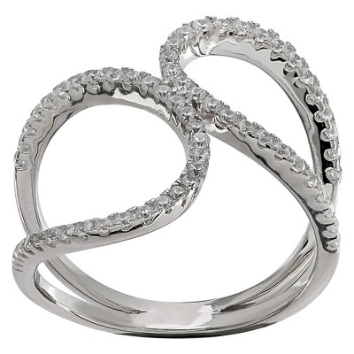 Women's Double Loop Ring with Clear Pave Cubic Zirconia in Sterling Silver - Clear/Gray