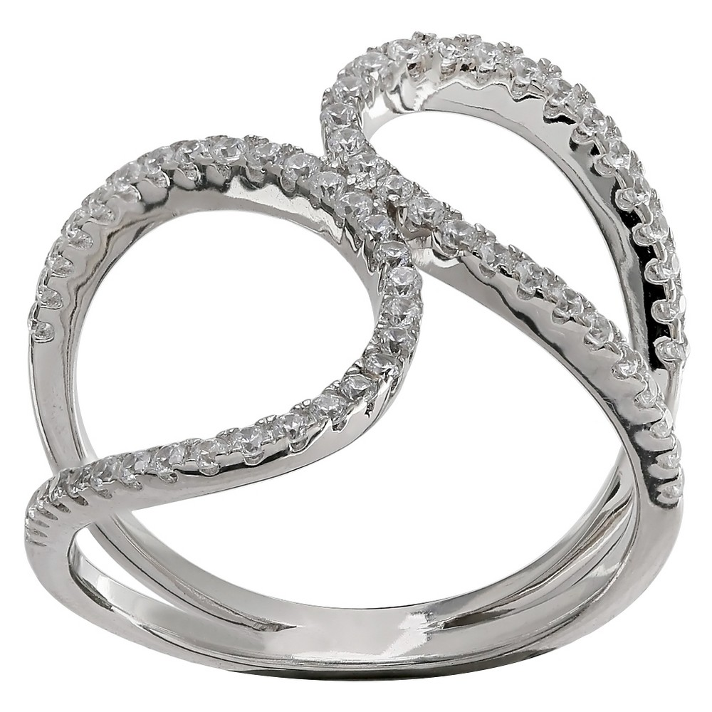 Discounts Womens Double Loop Ring with Clear Pave Cubic Zirconia in Sterling Silver - Clear Gray (Size 7)