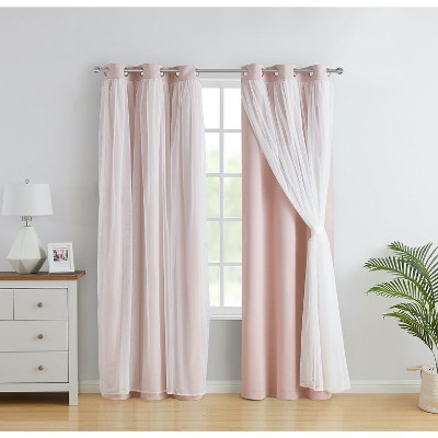 Kate Aurora 2 Pack Double Layered Hotel Chic Sheer Blackout Curtains