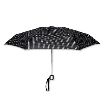 ShedRain Manual Compact Umbrella  - Black Polka Dot
