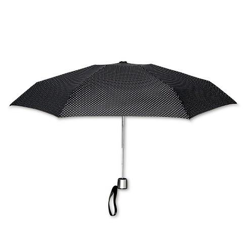 ShedRain Manual Compact Umbrella  - Black Polka Dot - image 1 of 2