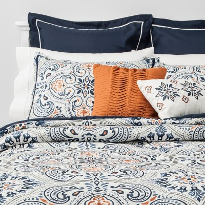 8pc Queen Medallion Comforter Set Indigo