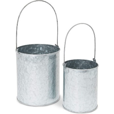 Galvanized Metal Bucket for Home Decoration (2 Sizes, 2 Pack)