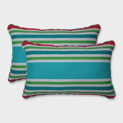 2pk Aruba Stripe Rectangular Throw Pillows Blue - Pillow Perfect - image 1 of 1
