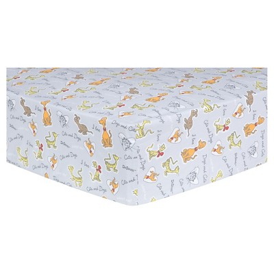 Dr. Seuss by Trend Lab Fitted Crib Sheet - What Pet Should I Get? Pet Sayings