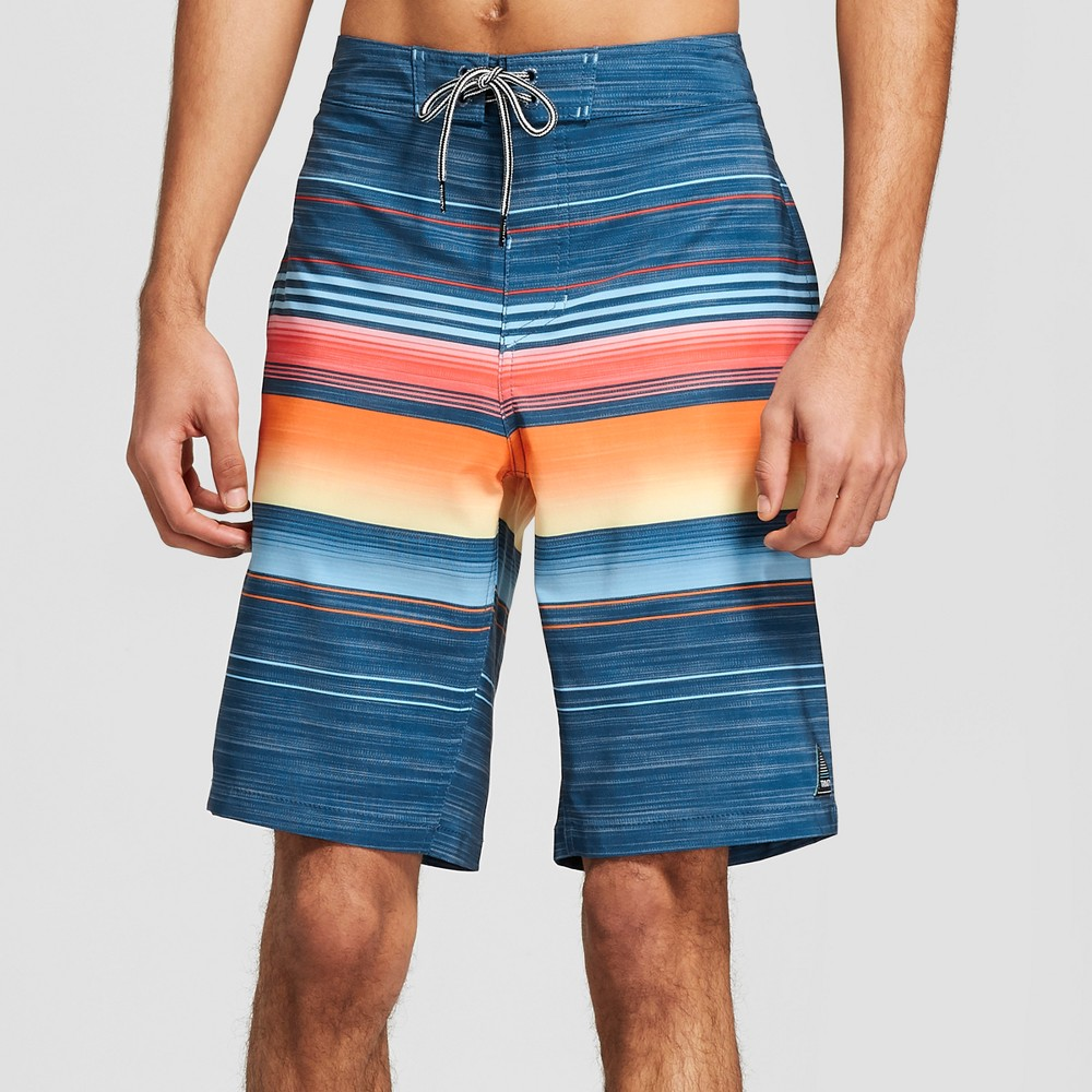 Trinity Collective Men's Striped 10 Blaster Board Shorts - Navy 33, Blue