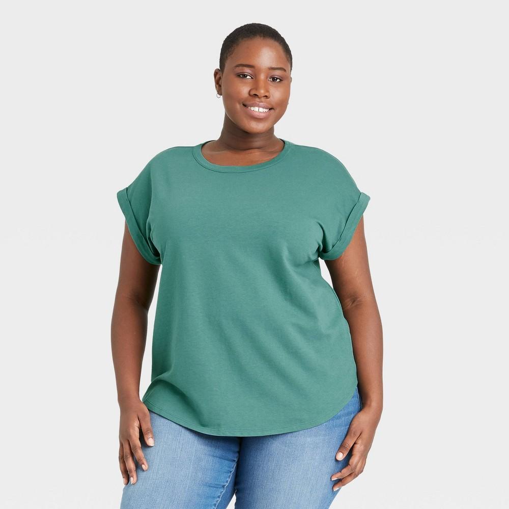 Women 39 S Plus Size Round Neck Cuffed T Shirt Ava 38 Viv 8482 Dark Green 1x