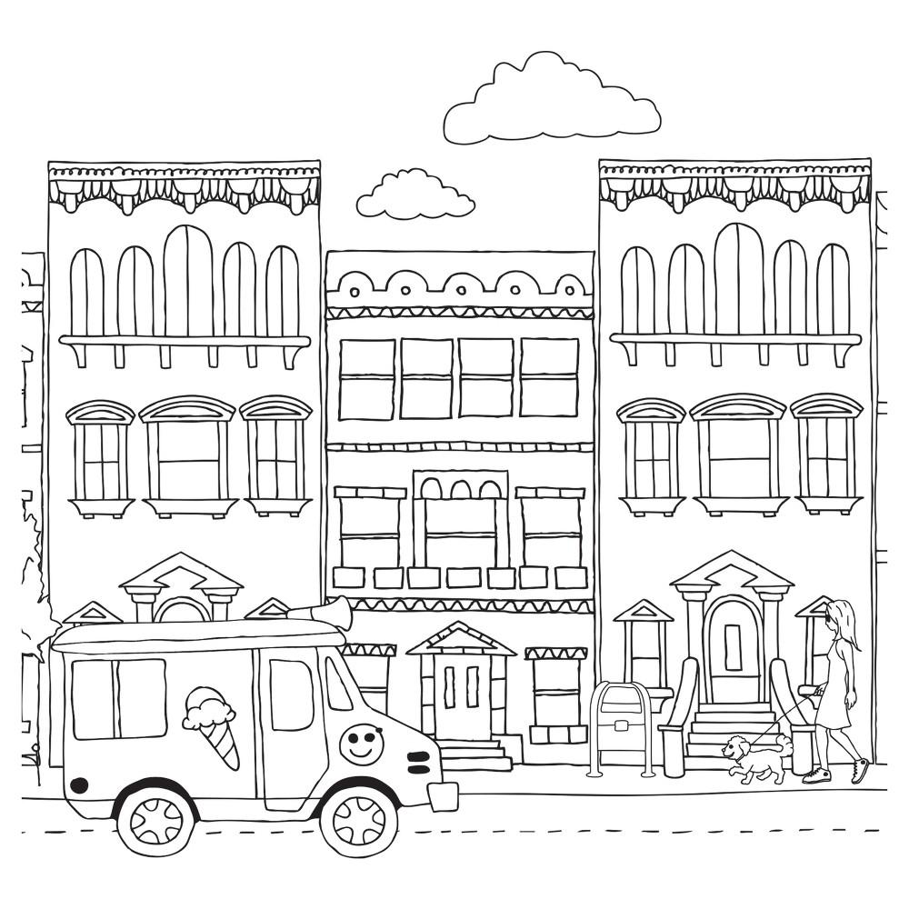 Tempaper - Kids City Self-Adhesive Removable Borders + Stripes - Black & White, Multi-Colored