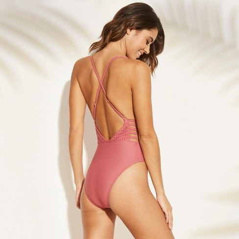 3967086acfd0 Women's Crochet Strappy Plunge One Piece Swimsuit - Xhilaration™ Rose Pink  S : Target