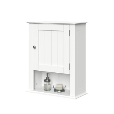 Beadboard Wall Cabinet with Open Shelf White - RiverRidge Home