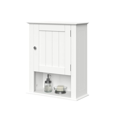 Beadboard Wall Cabinet With Open Shelf White