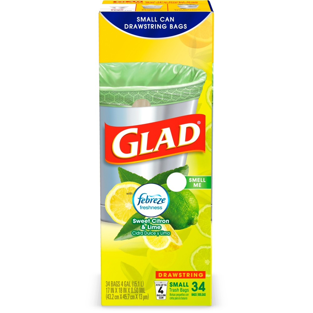 Glad OdorShield Febreze Sweet Citron & Lime Small Drawstring Trash Bags - 4gal - 34ct, Green