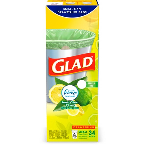 Glad OdorShield Febreze Sweet Citron & Lime Small Drawstring Trash Bags - 4gal - 34ct - image 1 of 3