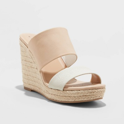 Women's Adelina Microsuede Two Band Espadrille Wedge Pumps - A New Day™ Blush 8.5