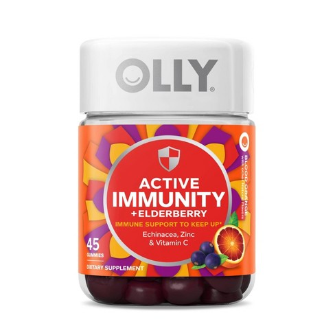 Olly Active Immunity + Elderberry Support Gummies - Blood Orange - 45ct - image 1 of 4