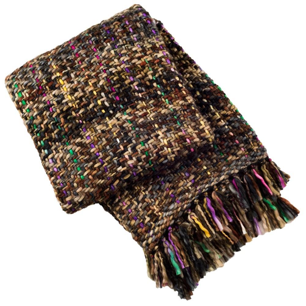 60 34 x72 34 Penny Knit Throw Blanket Rosewood Black Safavieh
