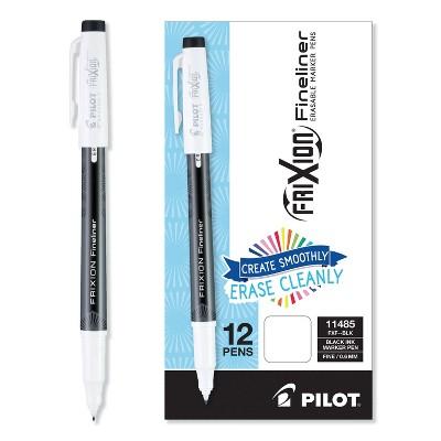 Pilot FriXion Erasable Stick Marker Pen 0.6 mm Black Ink/Barrel Dozen 11485