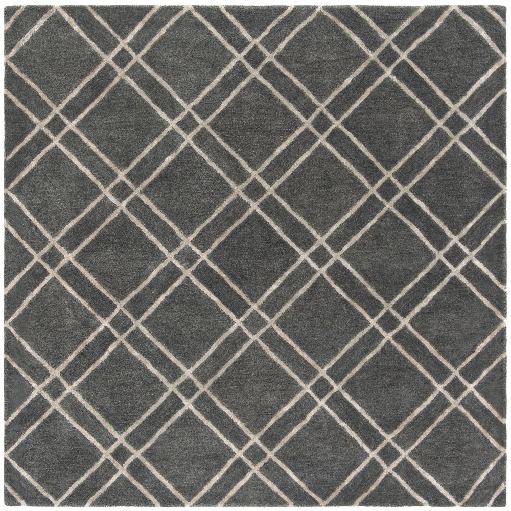 6'X6' Crosshatch Tufted Square Area Rug Dark Gray/Ivory - Safavieh