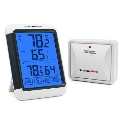 ThermoPro TP65 Indoor Outdoor Thermometer Digital Wireless Hygrometer Temperature Humidity Monitor with Jumbo Touchscreen and Backlight Humidity Gauge