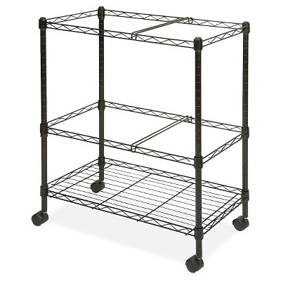 Lorell Vertical Filing Cabinet Mobile Cart Wire Double-tier Steel - Black
