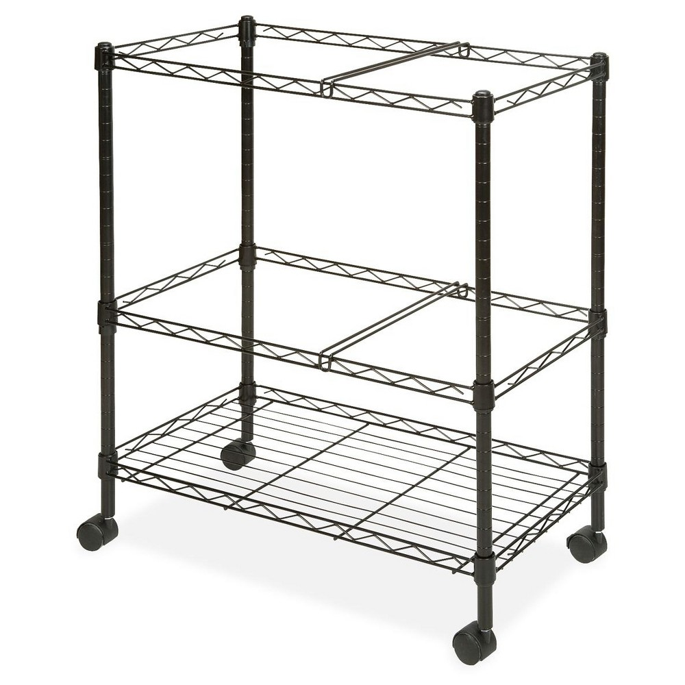 Image of Lorell Vertical Filing Cabinet Mobile Cart Wire Double-tier Steel - Black