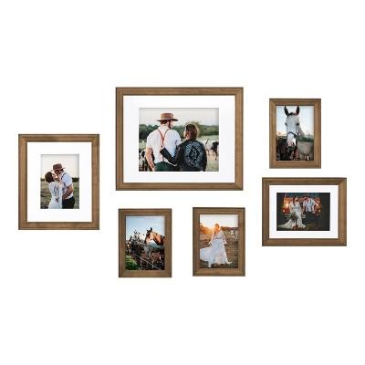 6pc Bordeaux Frame Box Set Natural Rustic Brown - Kate & Laurel All Things Decor