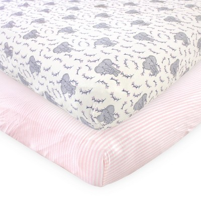 Touched by Nature Baby Girl Organic Cotton Crib Sheet, Girl Elephant, One Size